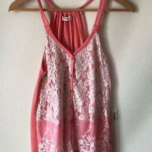 Pink coral lace tank top